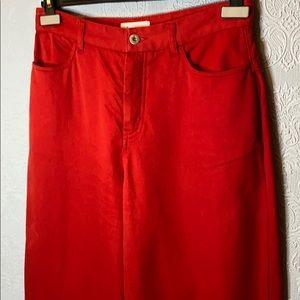 Kowtow red high waisted wide leg Jean
